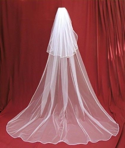 3 Meters Charming Ivory/white 2 Tier Cathedral Wedding Veil With Comb Lace Purfles - Veilsandweddingaccessories