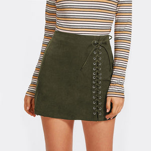 Lace Up Detail Mid Waist Plain