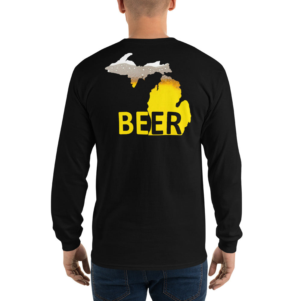 Michigan Beer Long Sleeve - The Great Lakes T Shirt, Apparel, and Clothing Company