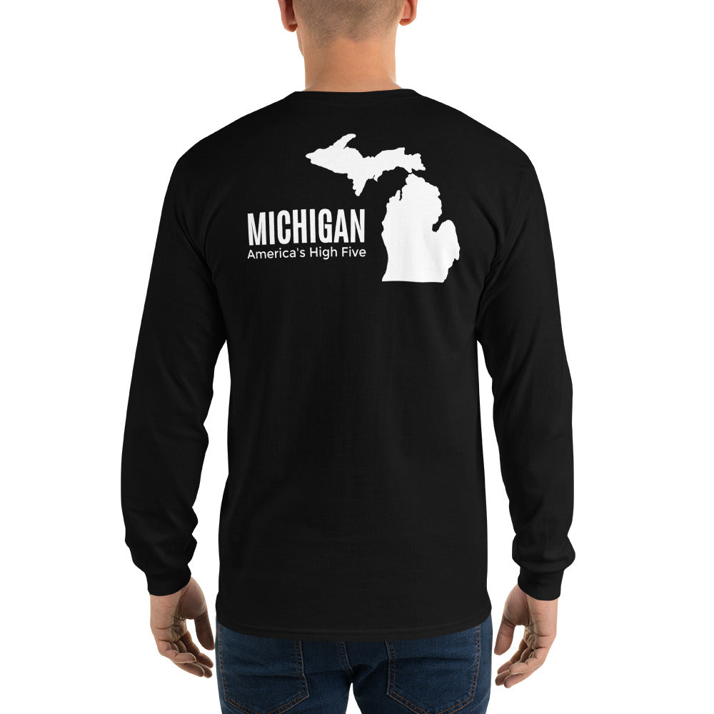 Michigan America's High Five Long Sleeve - The Great Lakes T Shirt, Apparel, and Clothing Company