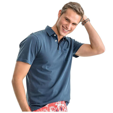 Southern Tide Island Road Jersey Polo Dark Denim