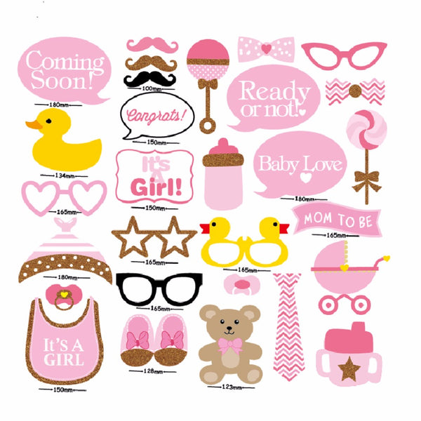 30 Piece Set Baby Shower Photo Booth Props Mybabyty