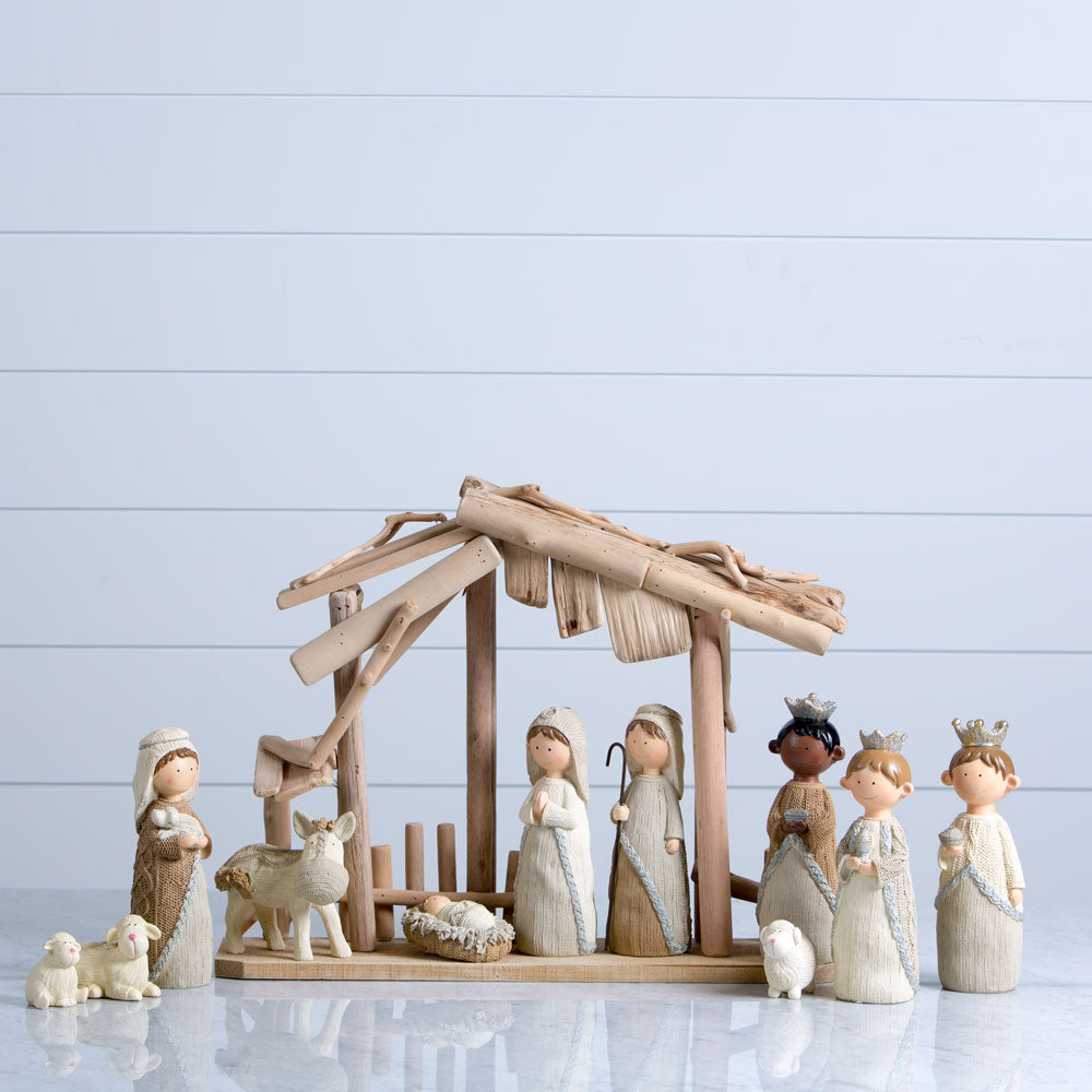 Faux Knit Nativity Figurines