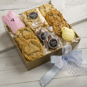 Kneaders Bakery & Cafe box of six gourmet cookies, two seasonally-shaped sugar cookies, one small Abbie & Ellie Sweets Cinnamon Roll Popcorn and two Abbie & Ellie Sweets Pecan Turtles.