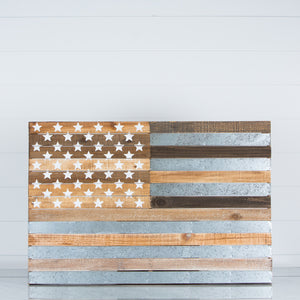Wood & Metal American Flag