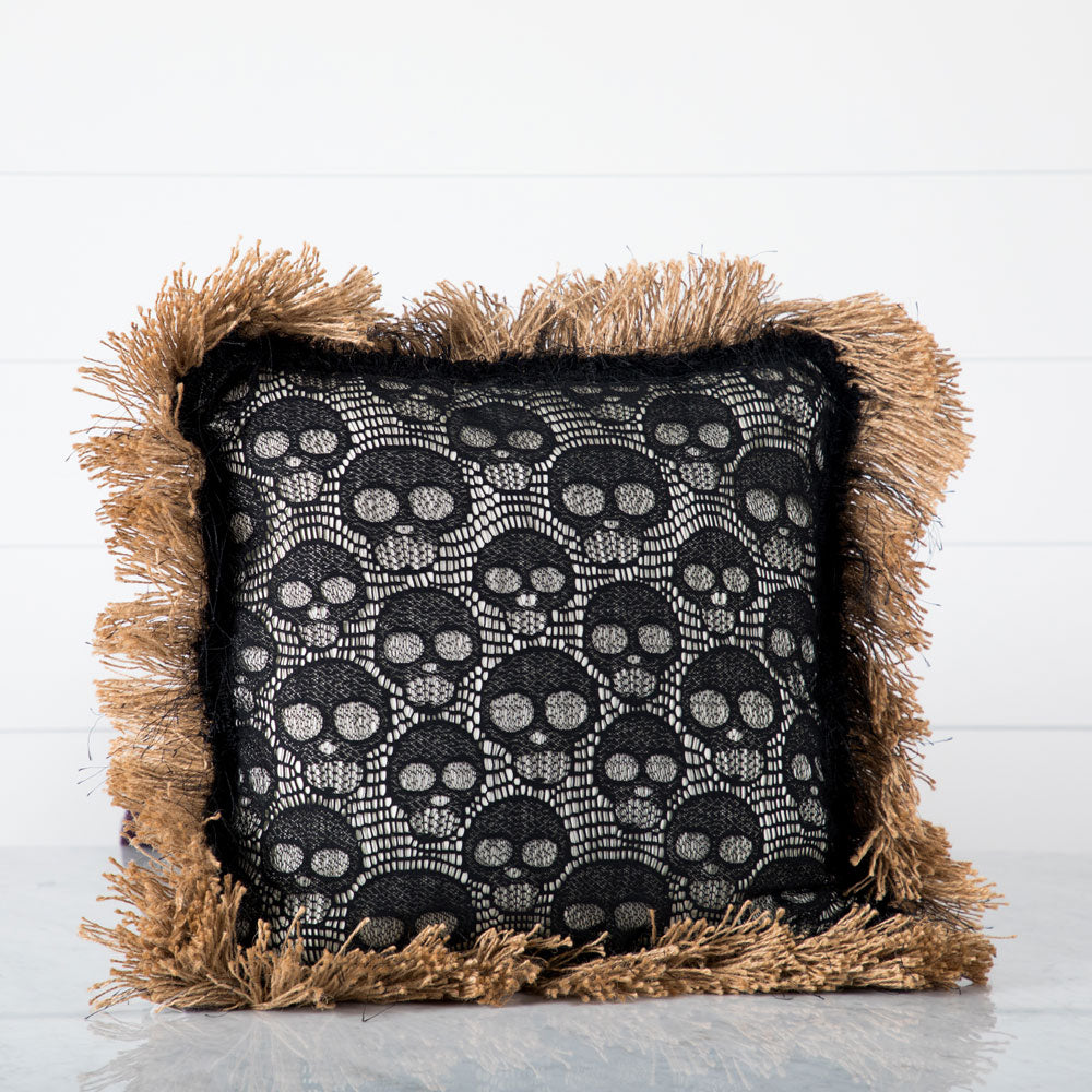 Lace Skull Pillow