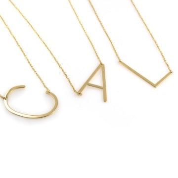 Medium Gold Sideways Initial Necklace *free shipping
