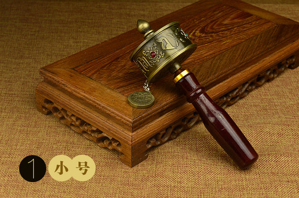 Mini Portable Tibetan Hand Held Prayer Wheel Mani Buddhist Prayer Roll for Nepal