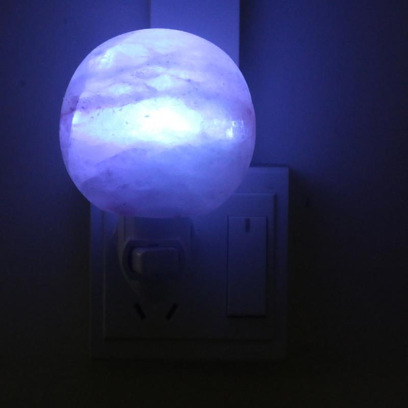 Himalayan Salt Wall Lamp Natural Crystal Round Shape Night Light w/colorful Bulb