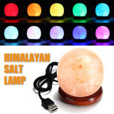 2017 1PC Round Hand Carved USB Wooden Base Himalayan Crystal Rock Salt Lamp Air Purifier Night Light SEP1_20