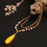 WEIYU New Nepal Buddhist Mala Wood Beads Necklaces Natural Stone Pendant Necklace For Women Men Elephant Ethnic Necklace