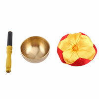 1 Set Buddhism Singing Bowl+Cushion+Wood Stick Tibetan Buddhism Meditation Brass Vintage Home Decor Art Craft