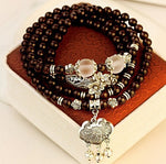 Natural crystal garnet charm bracelet multi layer longevity lock fatigue wholesale jewelry vintage women's bracelets gifts 0247