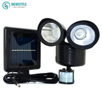Newstyle 22leds LED Solar Light Twin Head PIR Motion Sensor Lighting Outdoor Solar lamp Waterproof Pathway Emergency lawn lamp