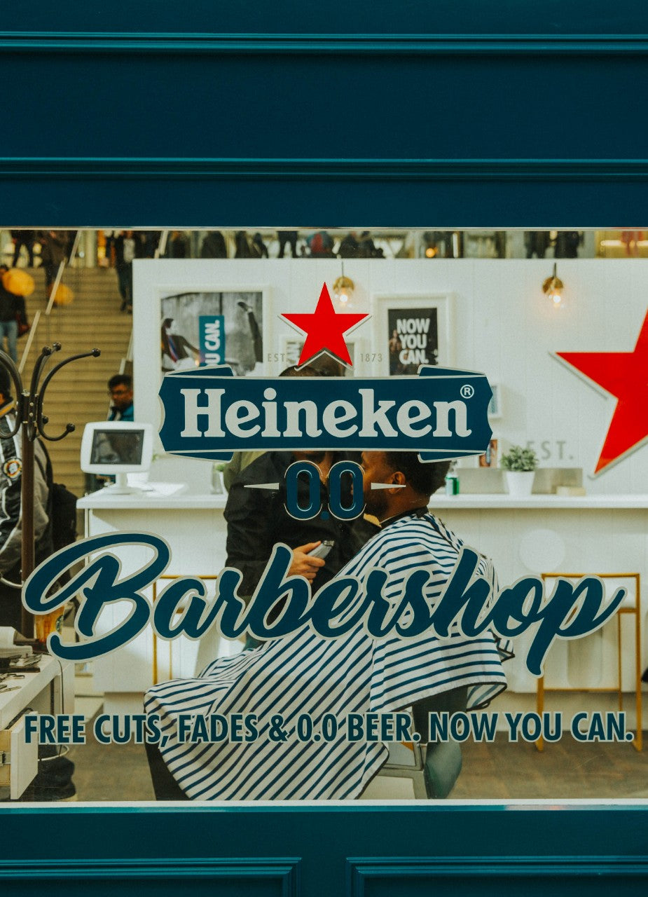 Heineken 0.0 barbershop pop-up in Toronto Eaton Centre Mall with Fade Room barbers