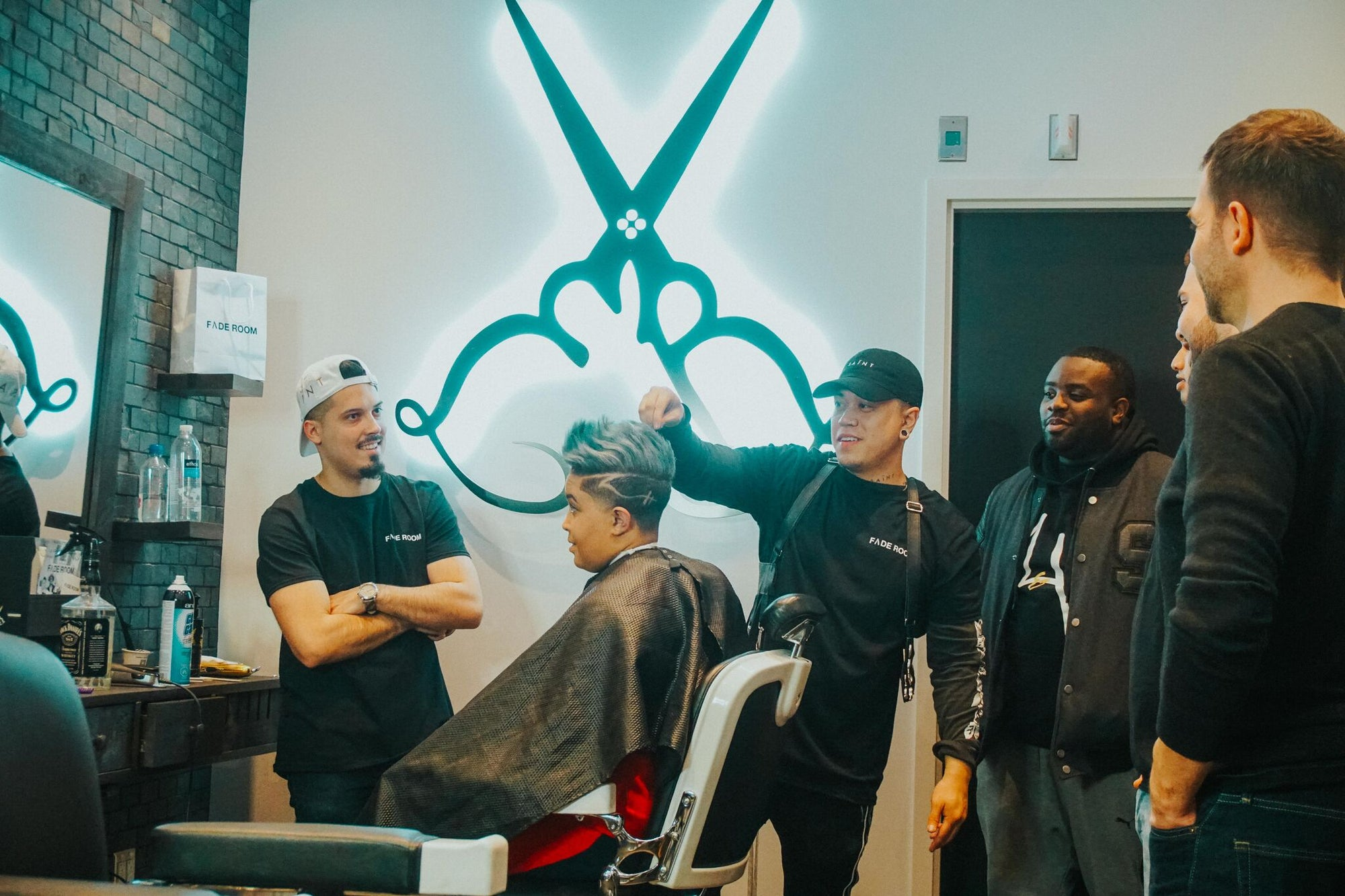 Claudio the barber and Famos host a look and learn barber class, at Fade Room Toronto