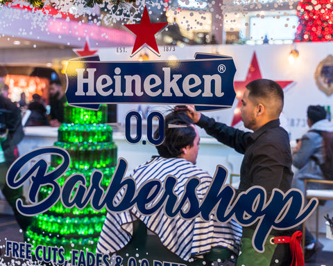 Andrei Climaco Fades at the Heineken 00 pop up event representing Fade Room Barbershop