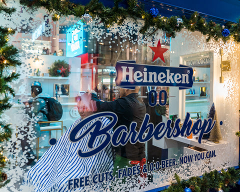Heineken 00 Fade Room Barbershop pop-up in Toronto Eaton Centre