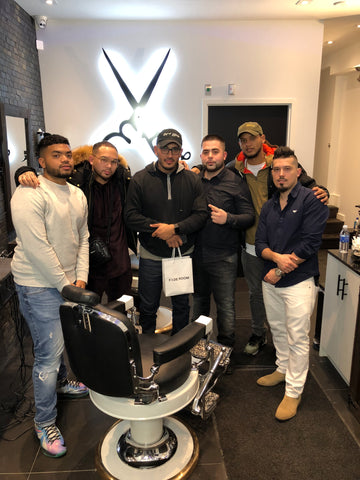 Chris Bossio and Tomb 45 team in Toronto, Canada with Claudio the barber and Buck the barber at Fade Room Barbershop with the Ferreira Signature Line products