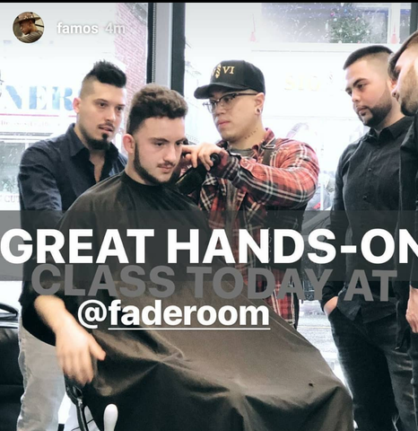 Scott Famos Ramos at Fade Room barbershop doing a hands on class - Claudio the barber