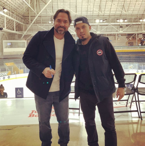 Darcy Tucker with Claudio Ferreira, Toronto Maple Leafs practice, Fade Room barber