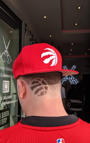 We the north, Toronto Raptors haircut design - Fade Room, Claudio the barber