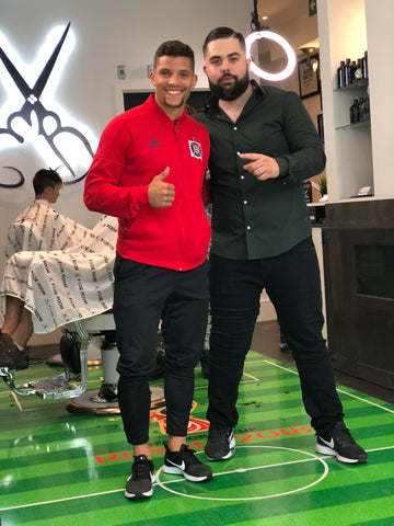 Rafael Ramos Portuguese Soccer player from Santa Clara gets his haircut at Fade Room Toronto, Canada