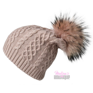 Blush Cableknit Cashmere Hat