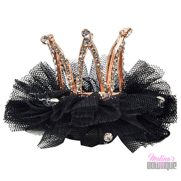 Black Couture Crown Clips