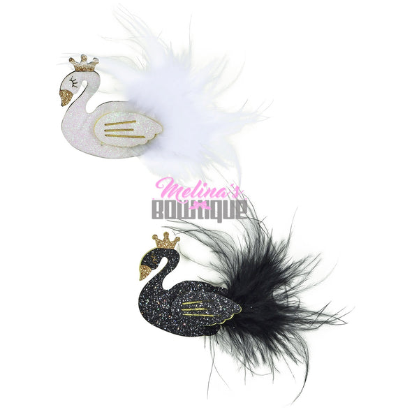 Swan Feathers Glitter Clips