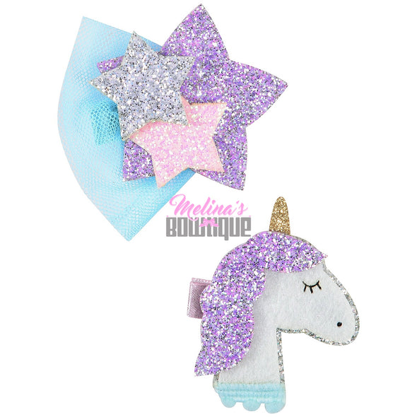 Unicorn Glitter Clips