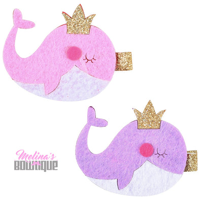 Whale Glitter Clips