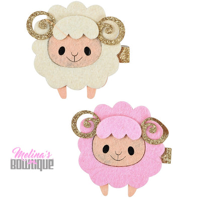 Little Lamb Glitter Clips