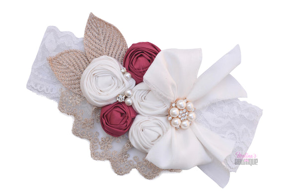 Cranberry Biscotti Couture Headband
