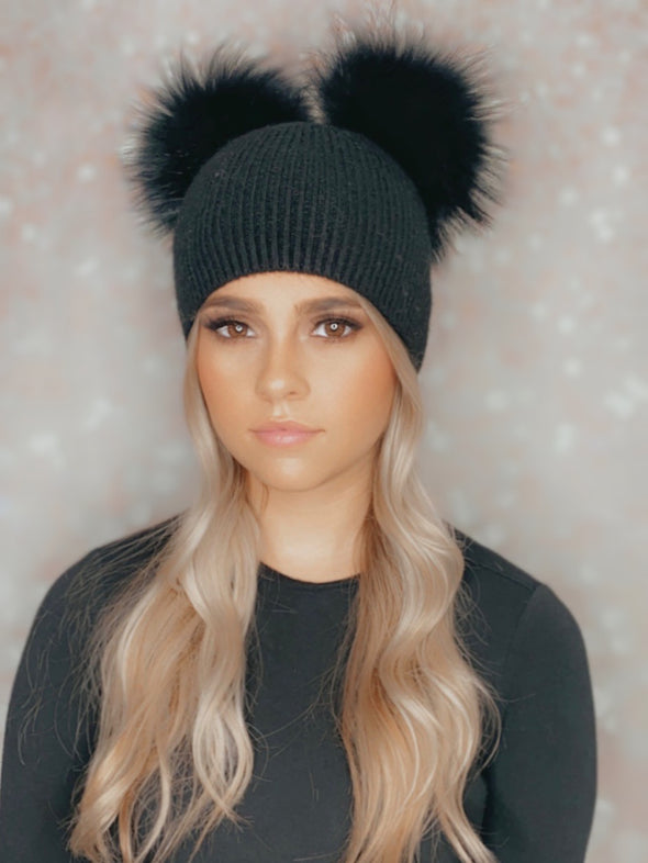 Black Ribbed Angora Beanie