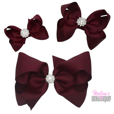 Burgundy Bling Bows