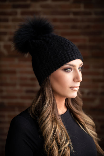 Black Classic Cableknit Cashmere Hat