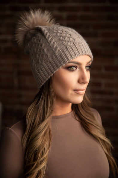 Cappuccino Classic Cableknit Cashmere Hat