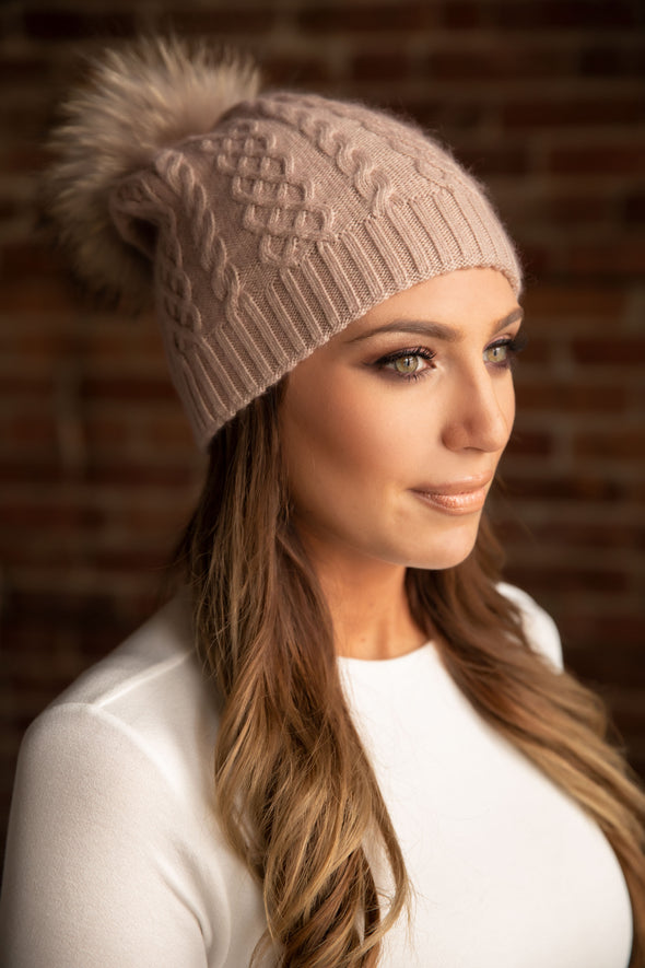 Blush Classic Cableknit Cashmere Hat