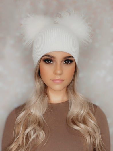 Cream Ribbed Angora Beanie