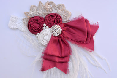 Cranberry Romance Couture Headband