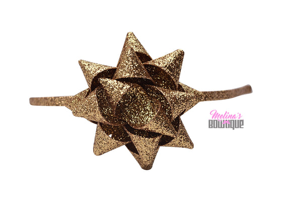 Gold Present Glitter Bow Headbands