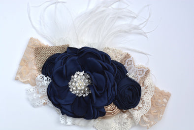 Navy Casablanca Couture Headband