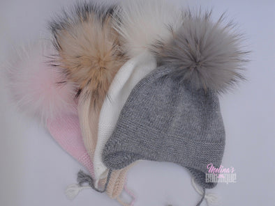 Grey Single Pom Angora Hat