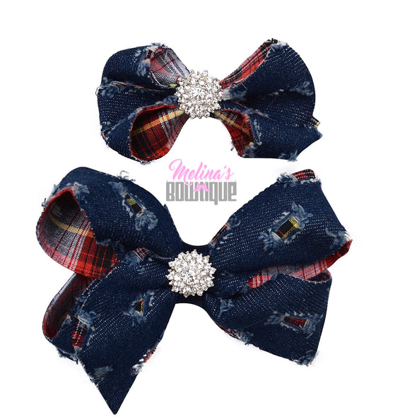 Dark Denim Bling Bows