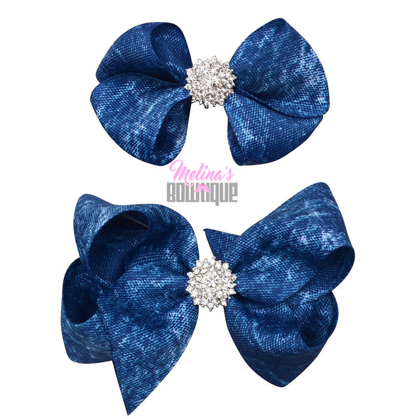 Denim Ribbon Bling Bows