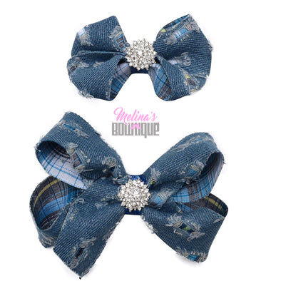 Light Denim Bling Bows