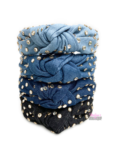 Studded Denim Topknot Headbands