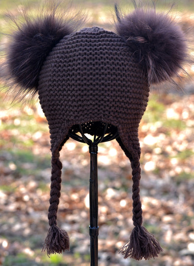 Mocha Double Pom Knit w/ Braids