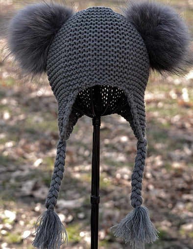 Charcoal Grey Double Pom Knit w/ Braids
